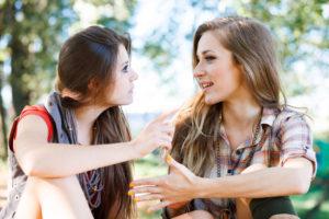 two girlfriends outdoor